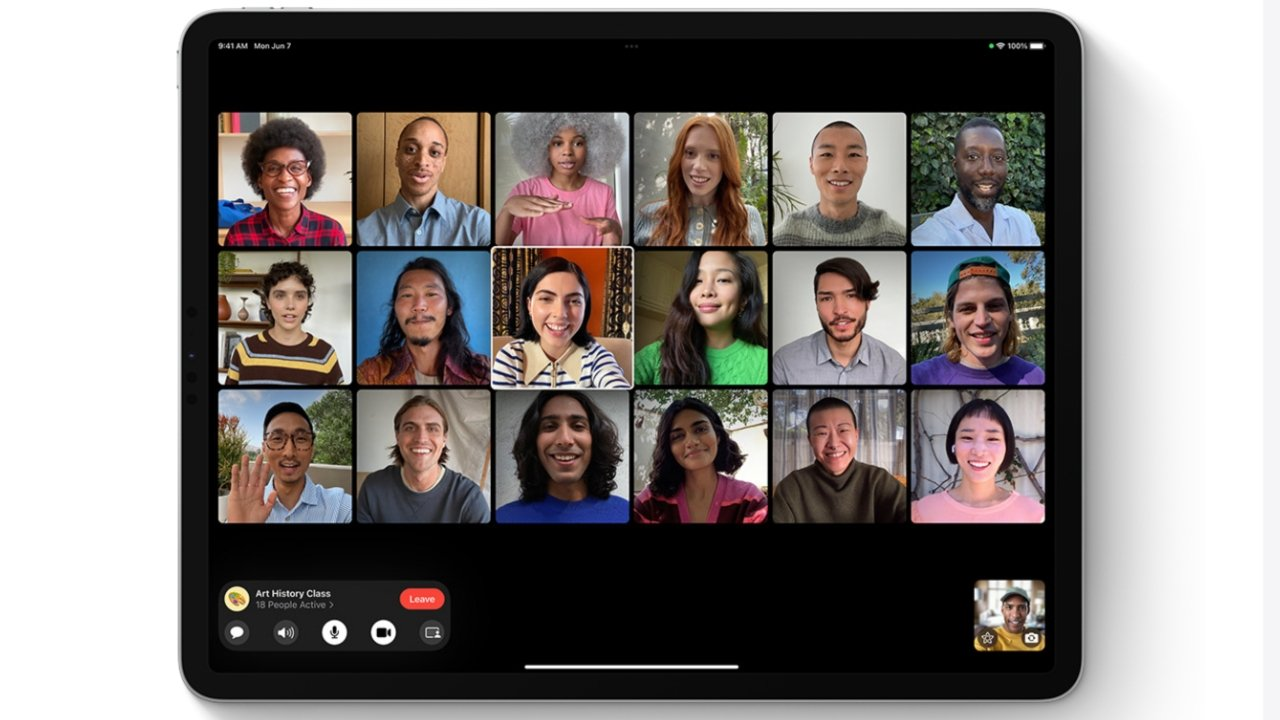 FaceTime can be configured with a stable grid view