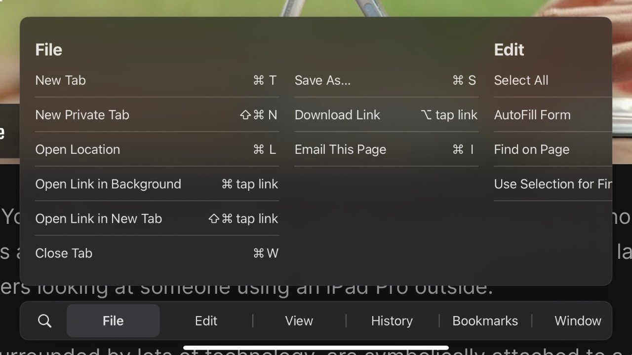 Hold Command down to see an interactive menu bar