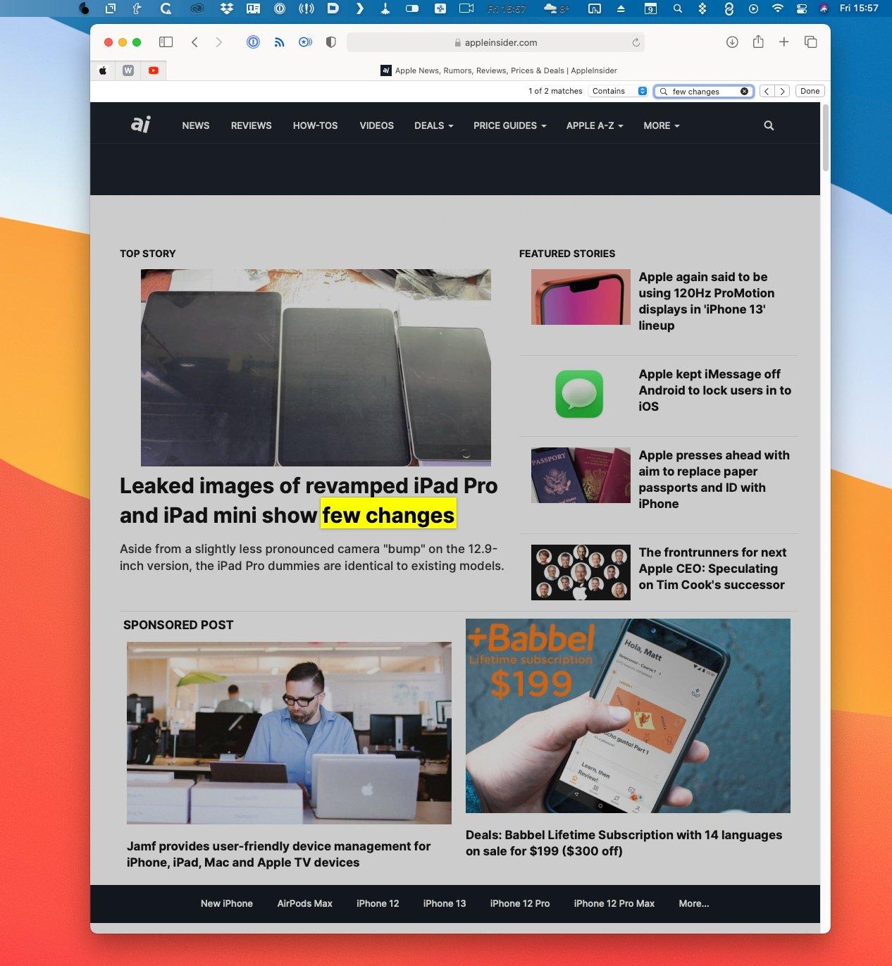 Он находится в другом месте на Mac, но Safari для macOS имеет ту же функцию поиска.