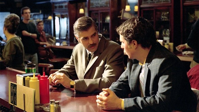 George Clooney and Sam Rockwell in the 2002 film based on the same autobiography