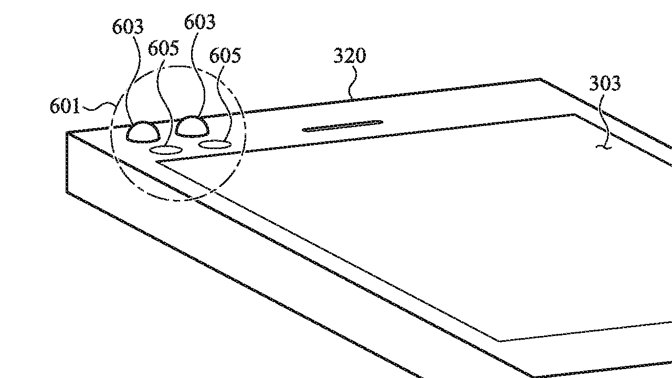 Detail from the patent showing an iPhone with proposed tactile notification region