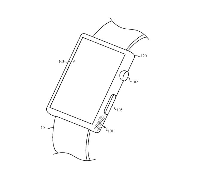 Detail from the patent showing an Apple Watch with a tactile region