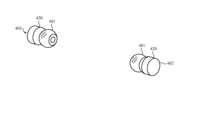 Detail from the patent showing how two AirPods could have a tactile region