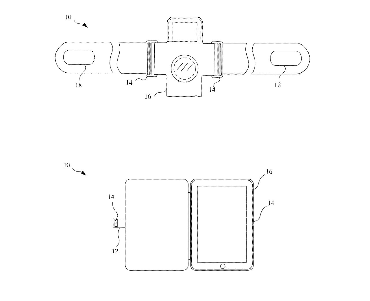 Detail from the patent application showing two possible uses of magnets in devices