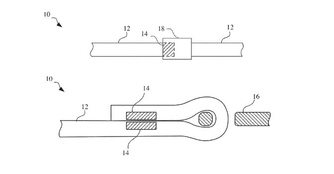 Two of the very, very many drawings in the patent application show different ways of connecting magnets