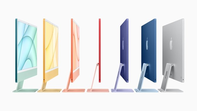 The new iMac is offered in a range of colors.