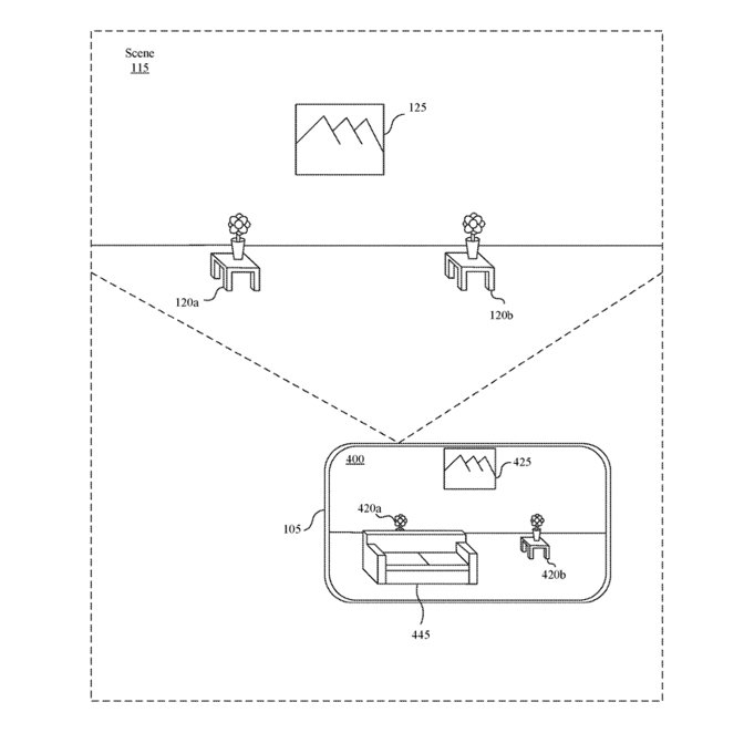 Detail from the patent showing (top) a real-world environment and (bottom) the same space with a shared 3D object in it