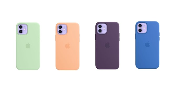 Pistachio, Cantelope, Capri Blue, and Amethyst MagSafe silicone cases
