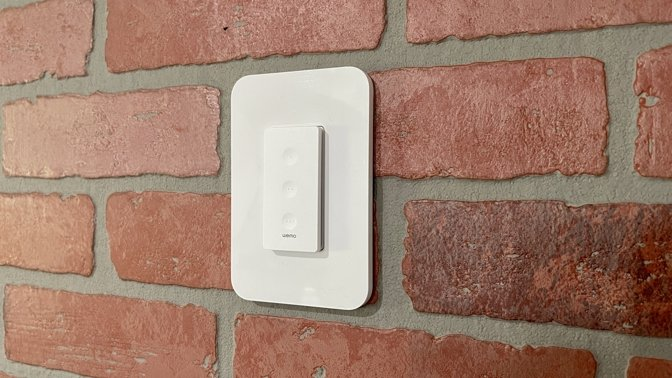 Wemo Stage scene controller mounted on the wall