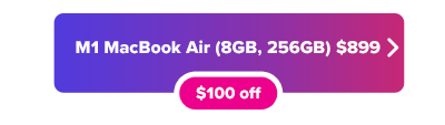 M1 MacBook Air on sale for $899 button in purple gradient