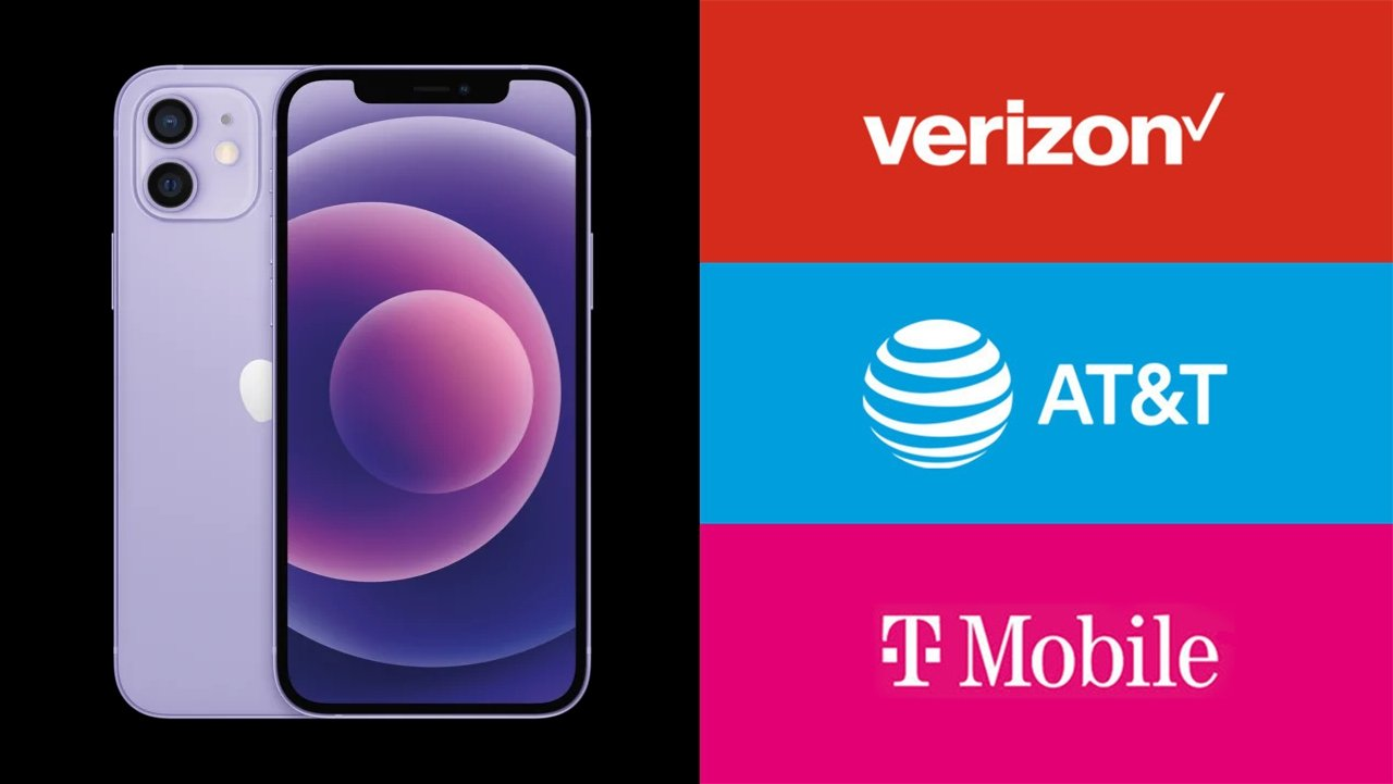 Purple iPhone 12 with Verizon, AT&T and T-Mobile logos