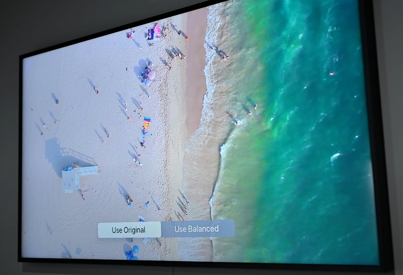 The Apple TV will show you the original settings alongside its calibrated output before implementing them.
