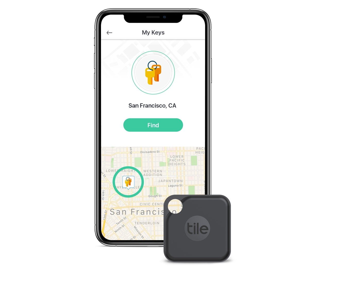 Tile Pro uses its own app platform to track down lost items, not Apple's Find my network.