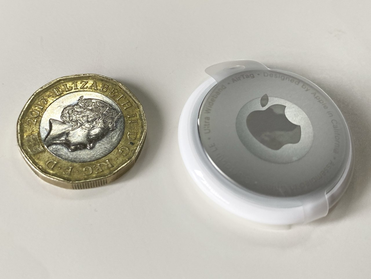 AirTag is truly tiny (One Pound coin for scale)