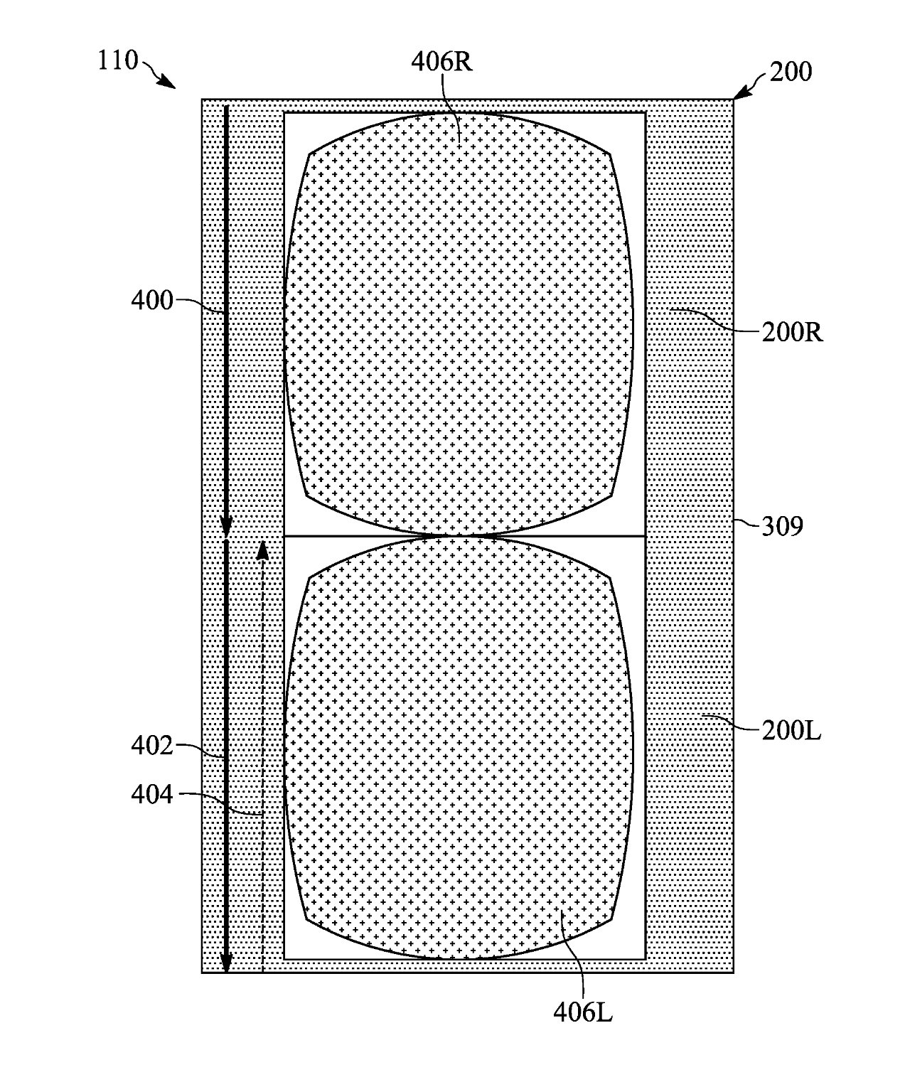 Detail from the patent showing the pixels of one screen controlled as two independent screens