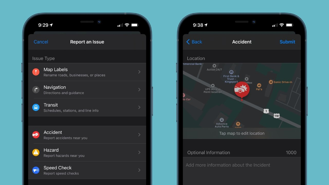 Tap the 'i' icon to view the Maps Settings and report an incident