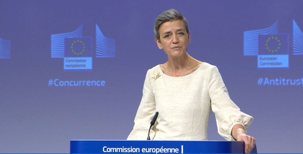 Executive Vice-President Margrethe Vestager, in charge of competition policy, announcing the EU's conclusion