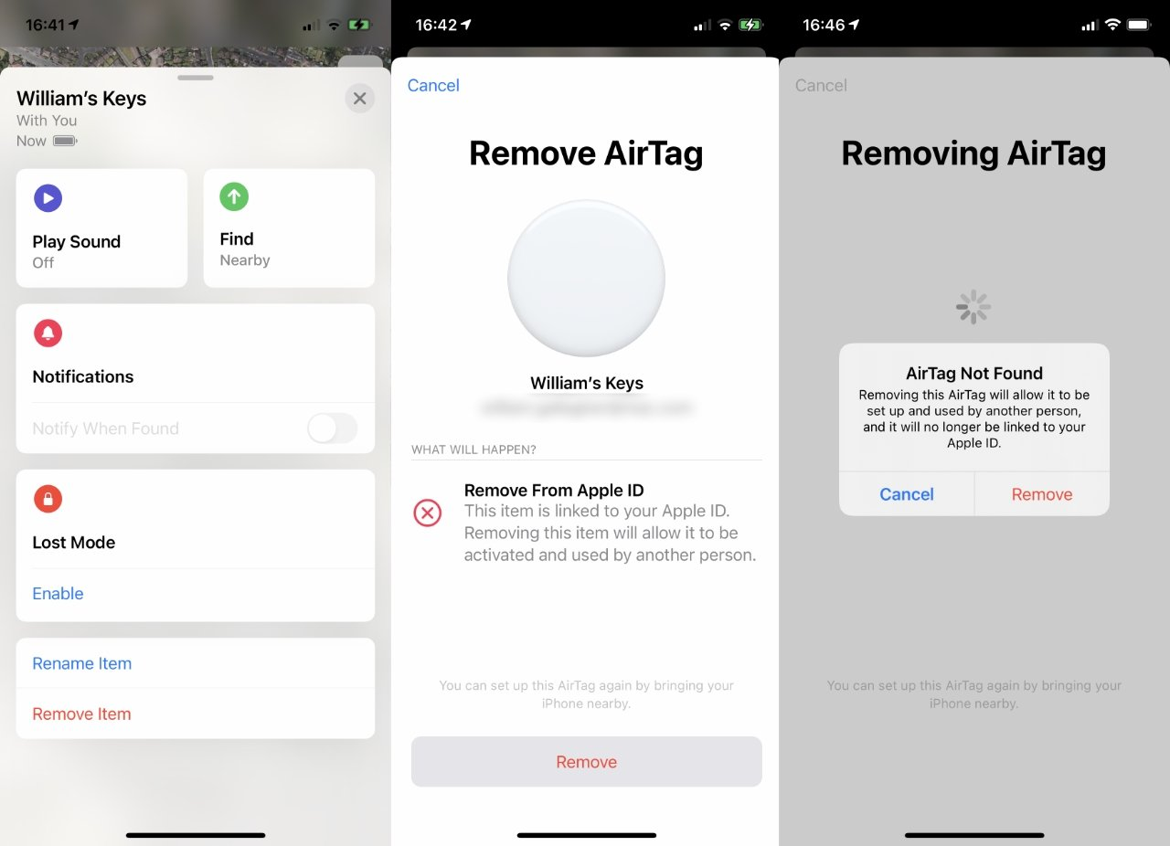 When the AirTag is out of Bluetooth range, you can still remove it —  but the new owner has to do a lot to reset it