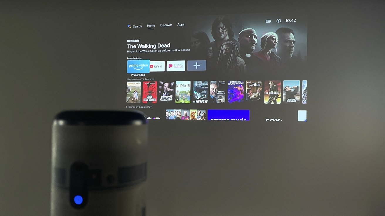 R2-D2 Nebula Capsule II projecting AndroidTV UI