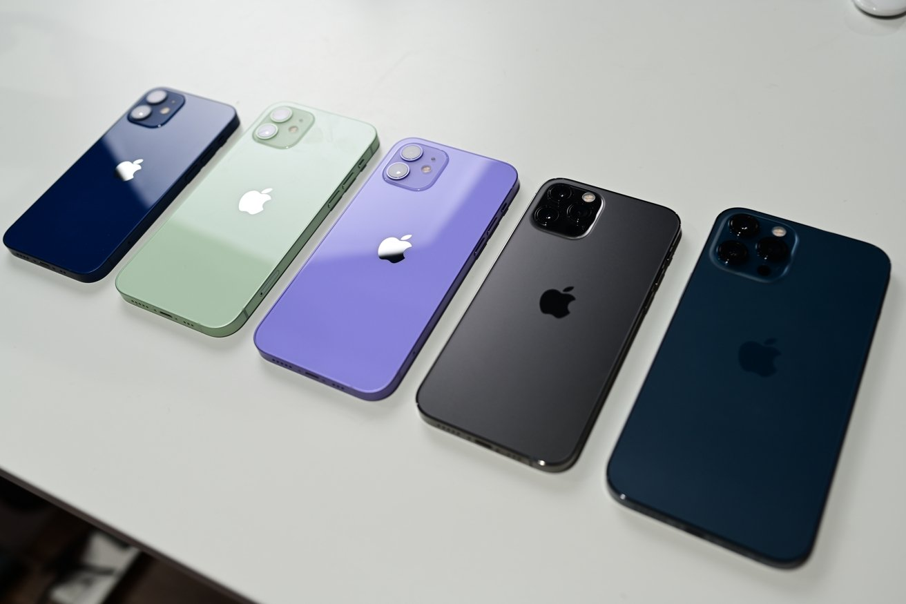 iPhone 12 mini, iPhone 12, purple iPhone 12, iPhone 12 Pro, and iPhone 12 Pro Max