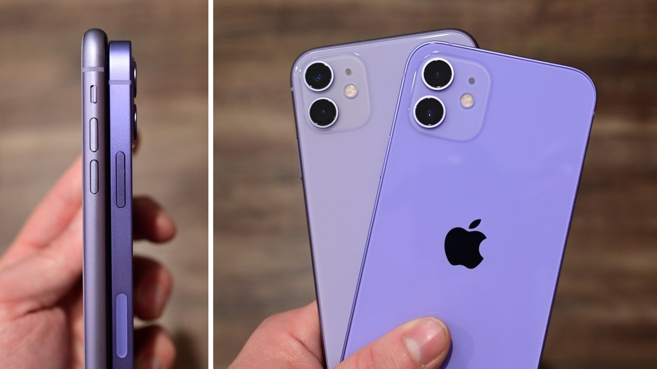 The purple iPhone 11 compared to the purple iPhone 12