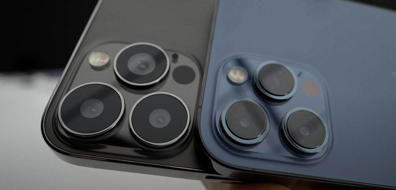 Cameras on the back of the model 'iPhone 13 Pro Max' and the iPhone 12 Pro Max [via Unbox Therapy]