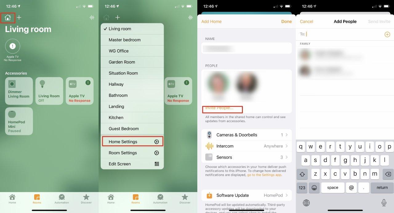 Откройте приложение «Дом», затем «LR», выберите «Настройки дома» и пригласите людей.