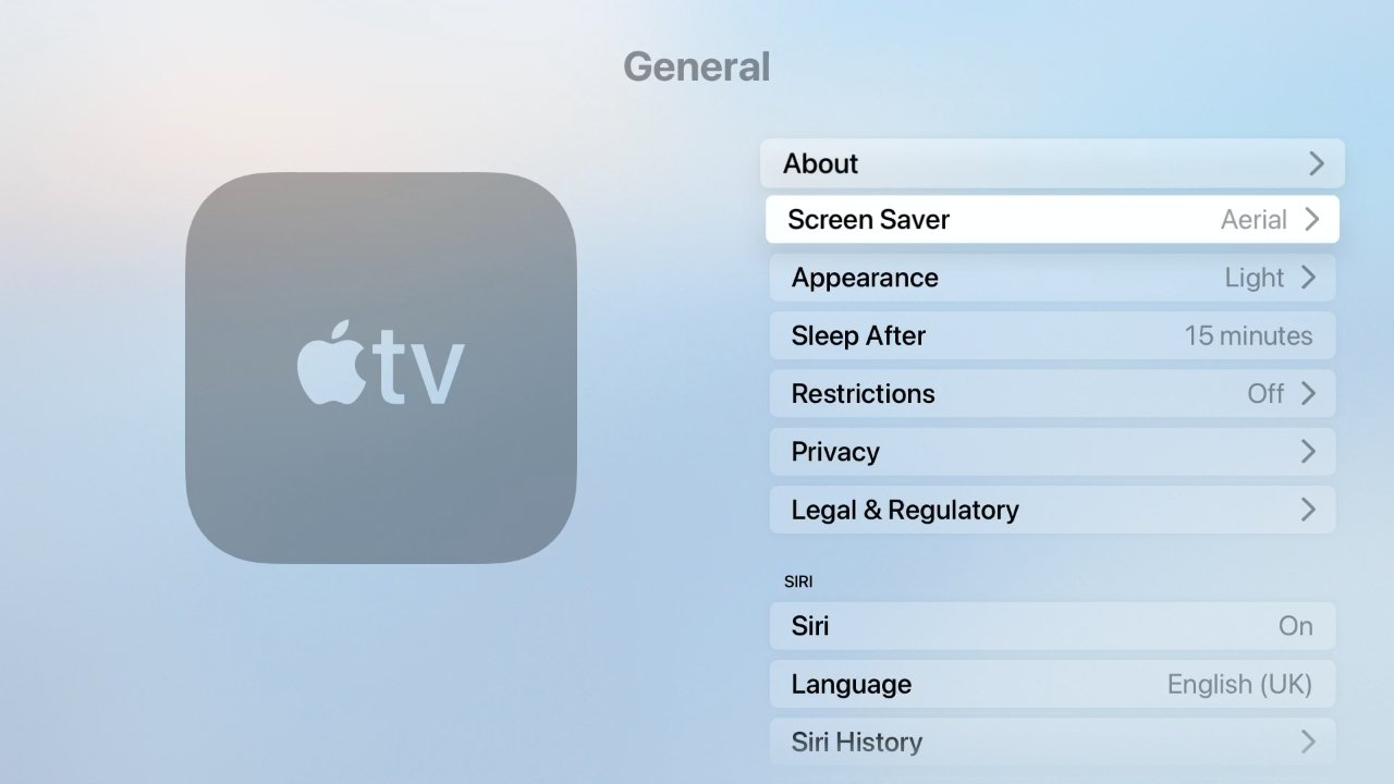 To change from the gorgeous screensavers to something else, go to Settings, General