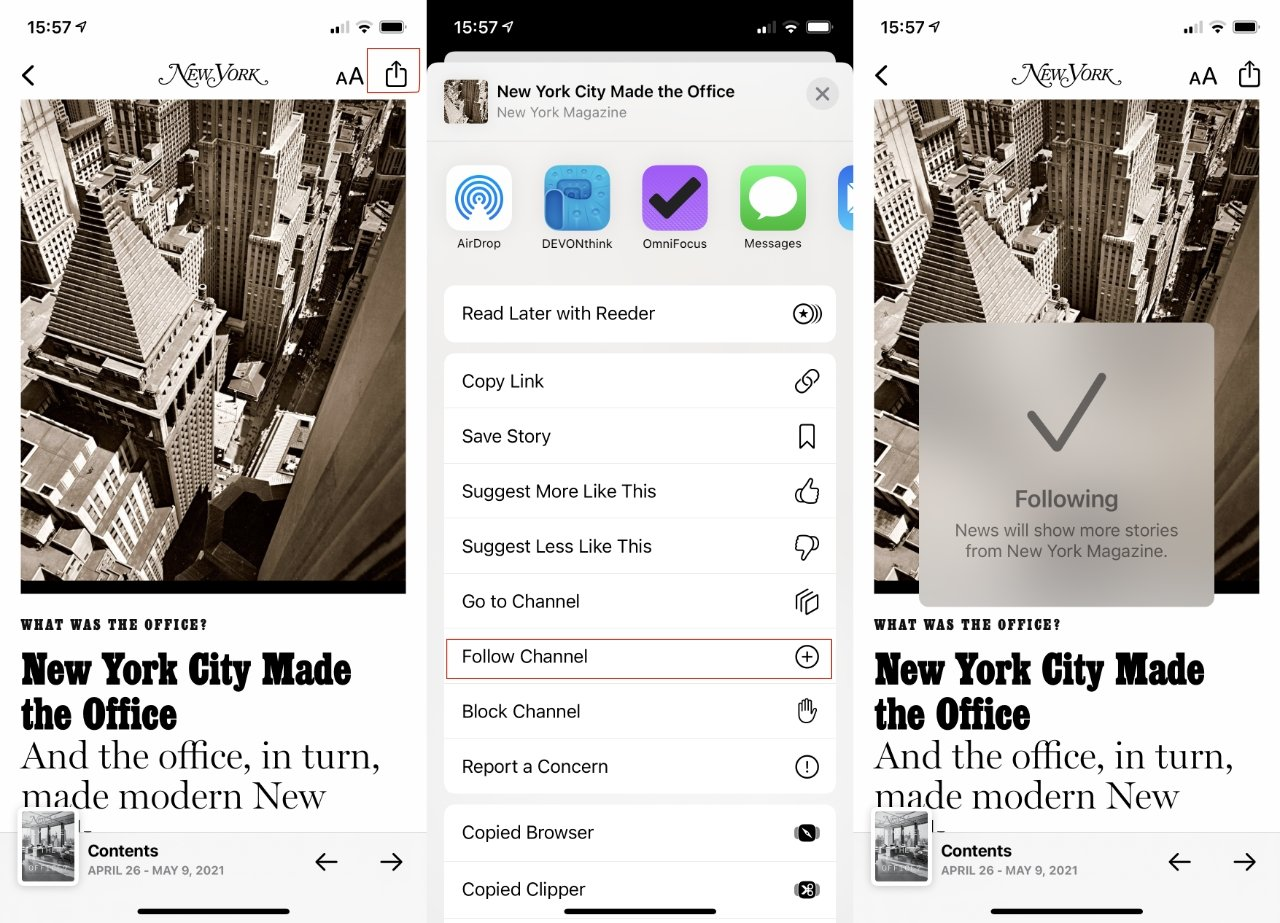 L-R: open a magazine, tap the share button, choose Follow Channel