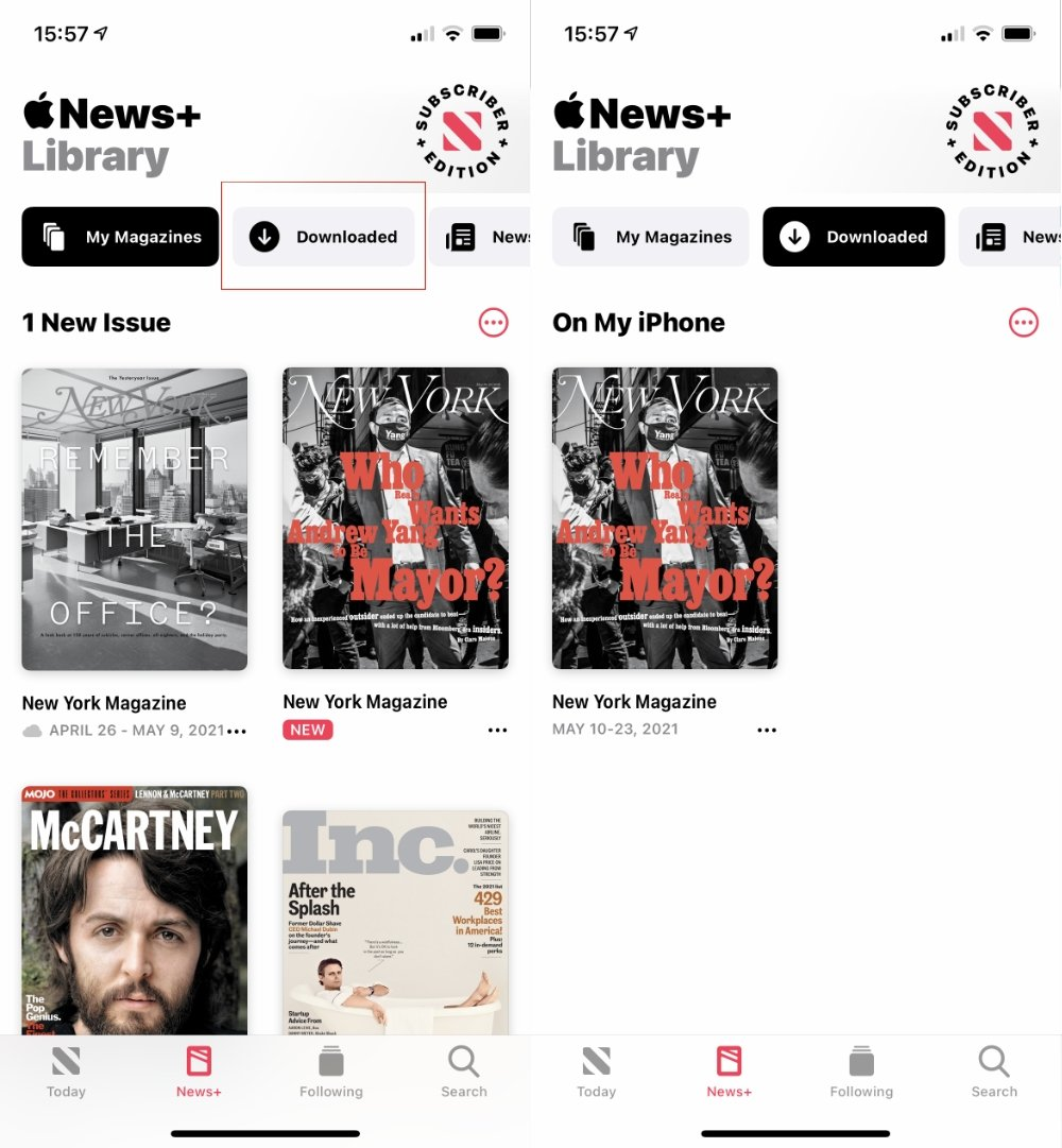 Tap on News+, then choose Downloaded, to read the latest issue