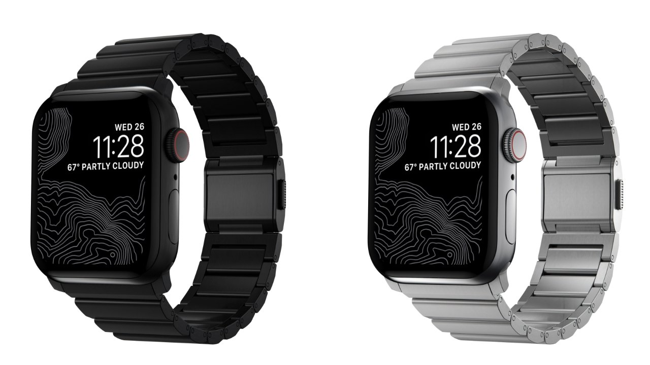 The texture and color of the Titanium and Steel bands match the Apple Watch