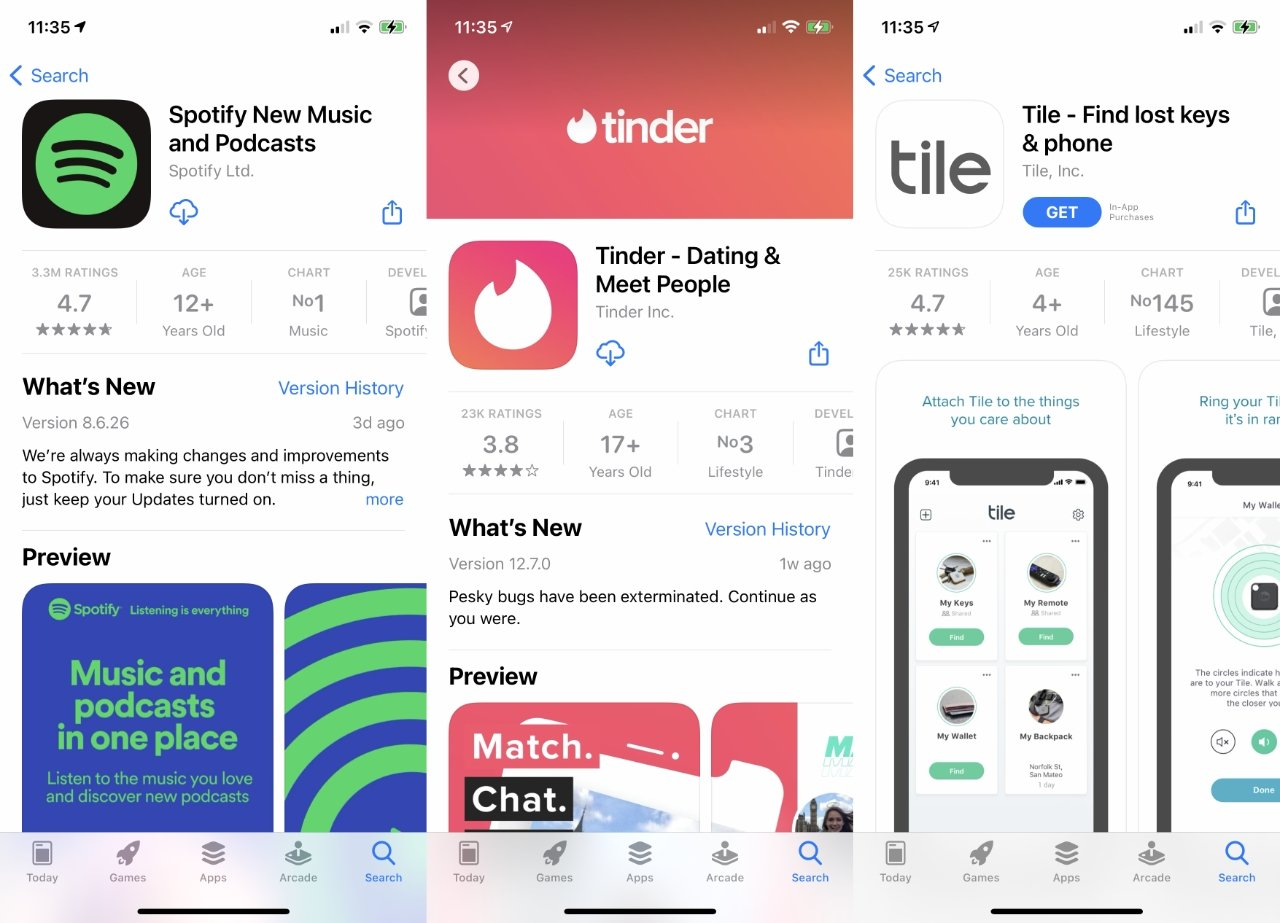 Apple says that Spotify, Tinder, and Tile have together been downloaded hundreds of millions of times from the App Store