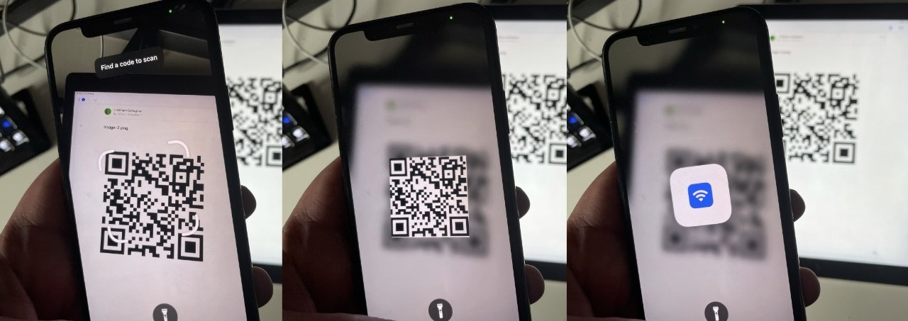 L-R your guest looks for a QR code, the iPhone registers it, and it unlocks the network