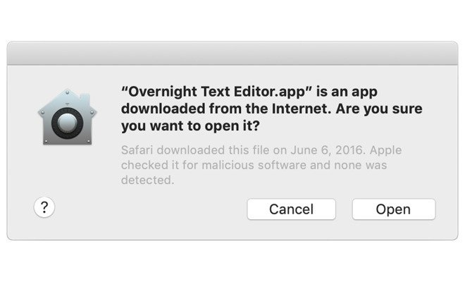 Gatekeeper warns users if they execute downloaded apps.