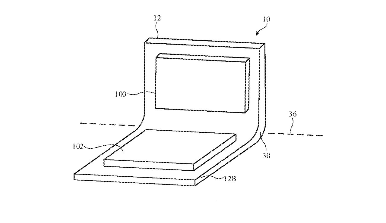 Detail from the patent showing one bendable hinge, either for a MacBook Pro, or a folding iPhone