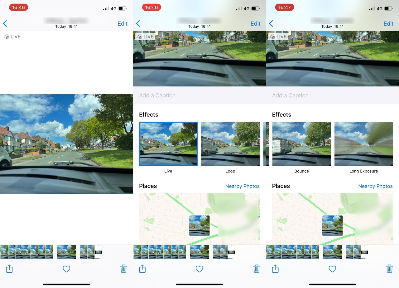 Open a Live Photo and swipe up, then swipe across the effects to Long Exposure