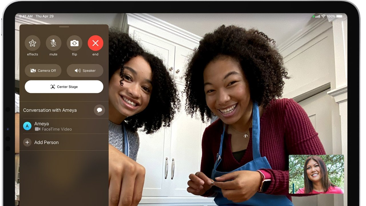 FaceTime's new Center Stage (pictured) will be supported in Zoom 5.6.6 for the 12.9-inch iPad Pro