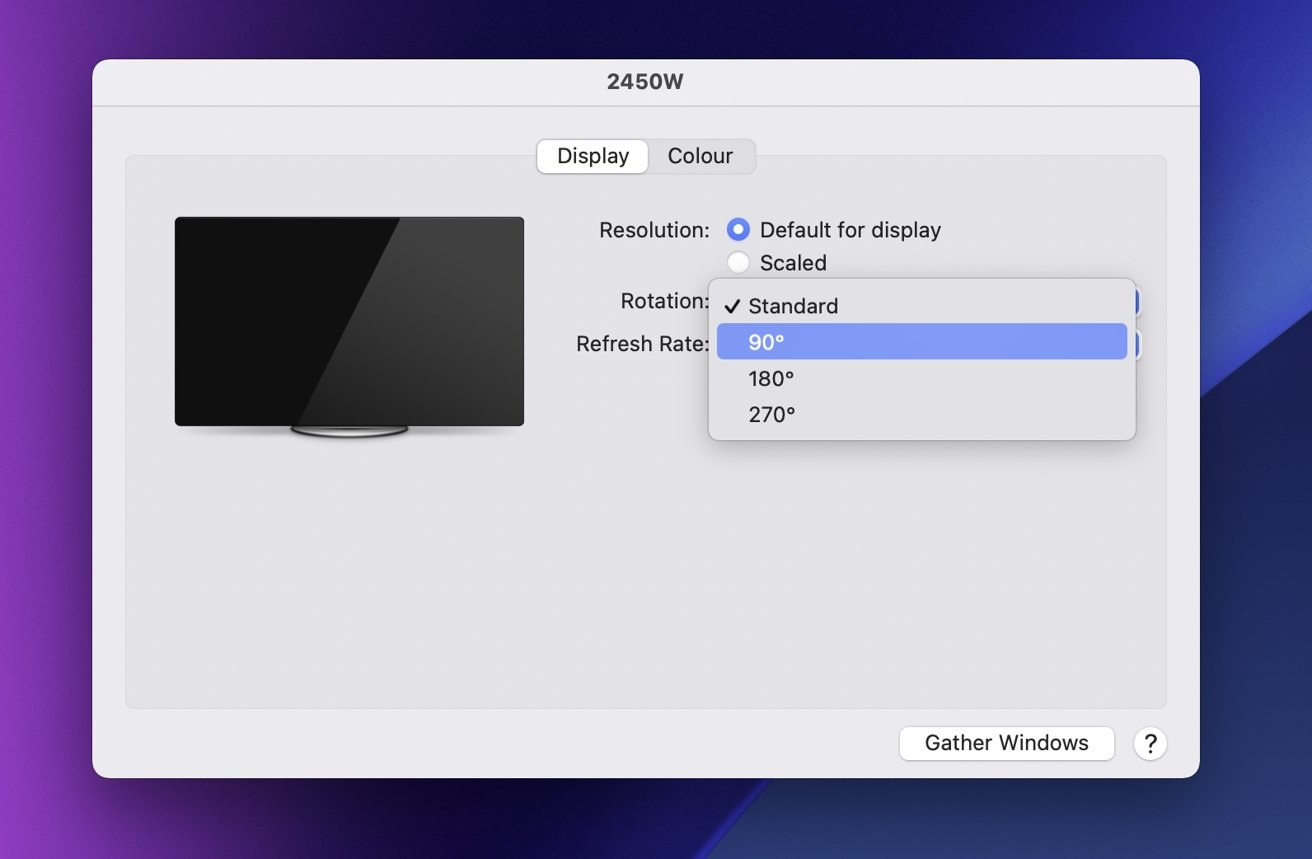 The monitor rotation option within macOS.