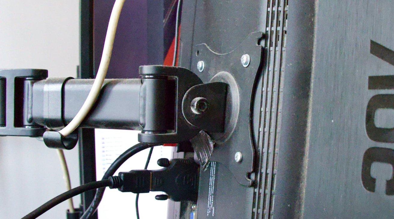 VESA mounts are handy and reasonably priced, but don't tangle the cables around it.