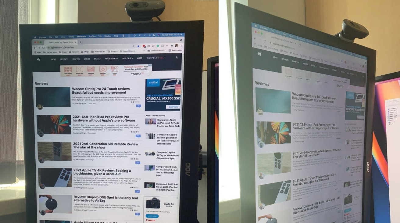 The display may become harder to read at an angle for some monitor models.