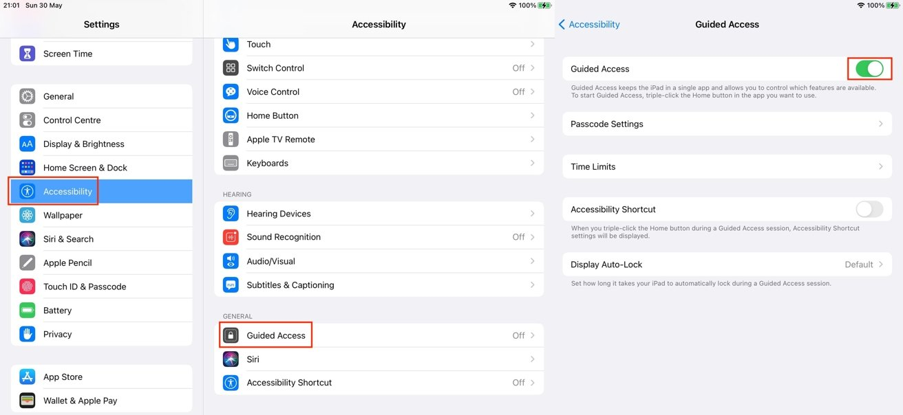 The route to set up Guided Access is the same on iPhone and iPad.