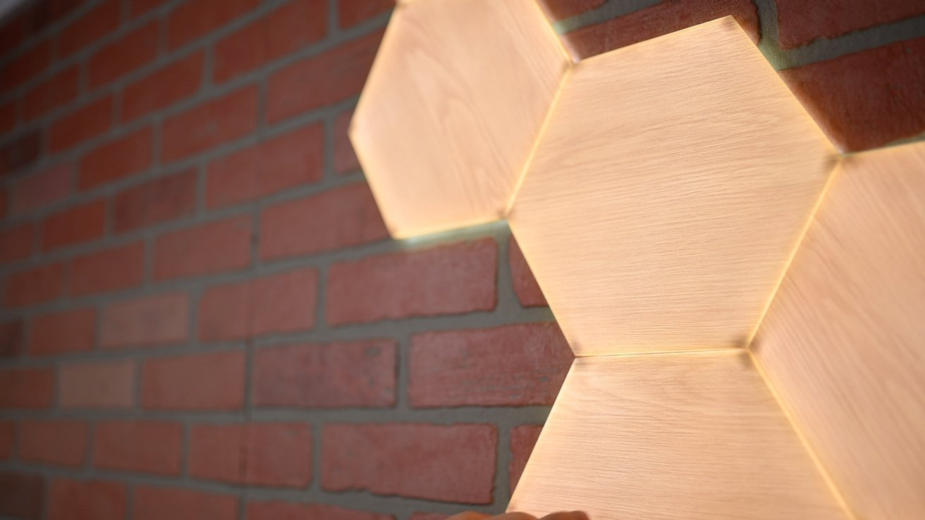 Close up of the Nanoleaf Elements Wood Look Hexagons