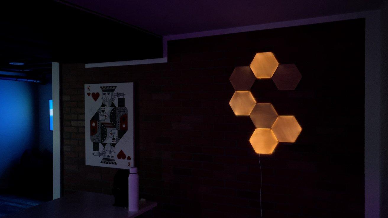 Using Nanoleaf Elements Wood Look Hexagons at night
