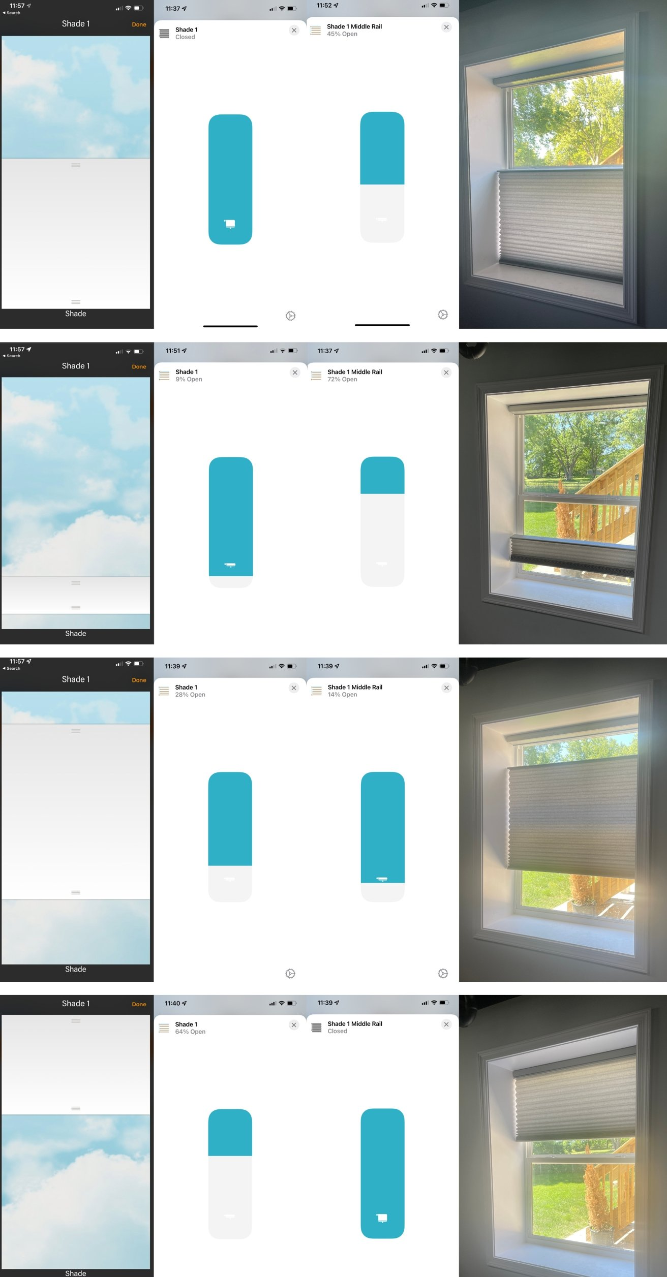 Examples of the PowerView app and Home app and how the shades look in real life