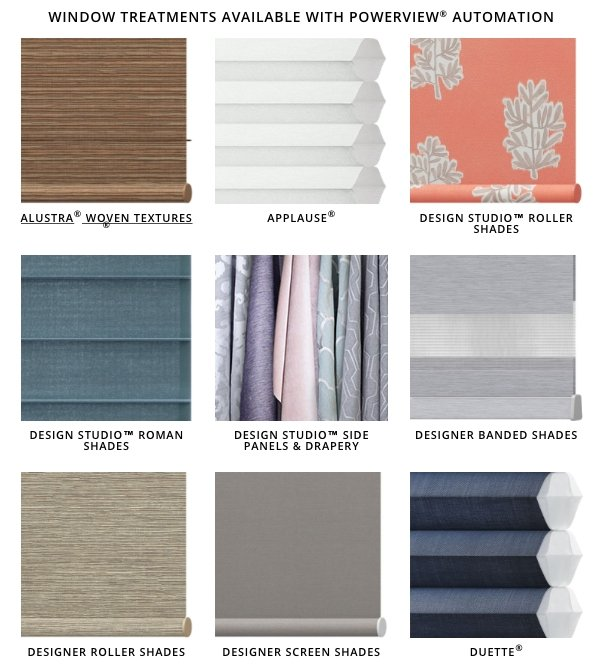 Just some of the PowerView window treatment options
