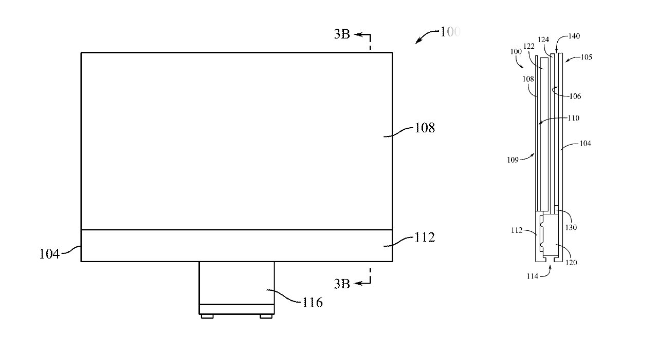 Detail from the patent showing an iMac and some internal speaker assembly