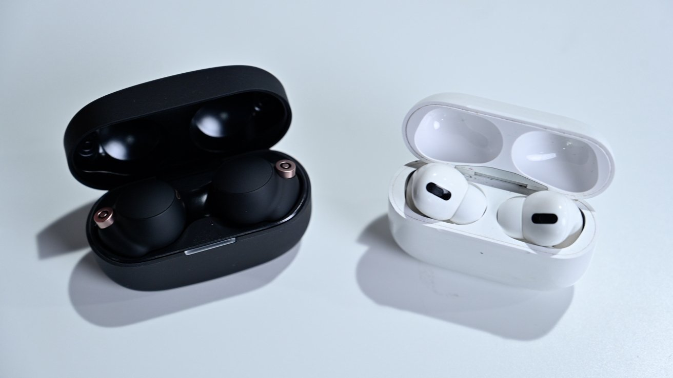 The Sony WF-1000-XM4 (left) versus Apple AirPods Pro (right)