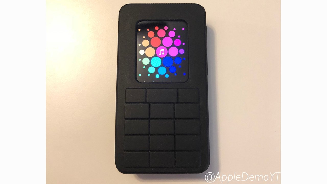 Apple Watch prototype with case designed to look like a leaky brick phone