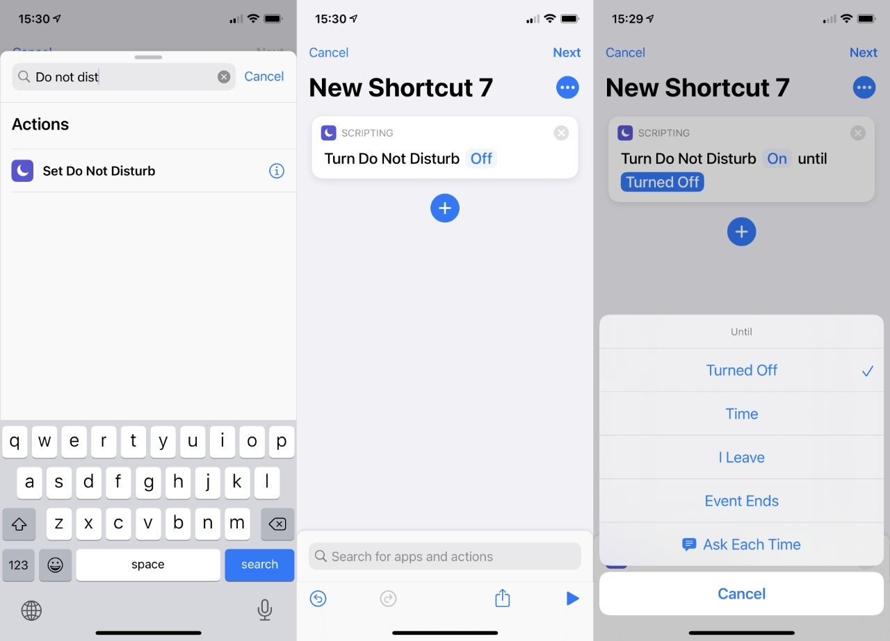 When Shortcuts come to the Mac, you'll be able to set up quick ways to turn on and off Do Not Disturb, as you can here on iOS