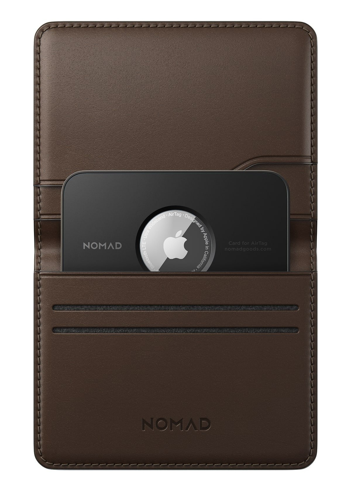Card for AirTag inserted into Nomad's wallet